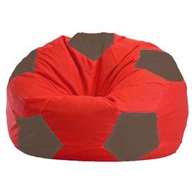 Бескаркасное кресло-мешок Мяч красно - тёмно-бежевое 1.1-177