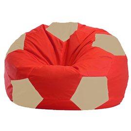 Бескаркасное кресло-мешок Мяч красно - светло-бежевое 1.1-174