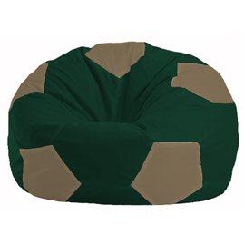Кресло-мешок Мяч тёмно-зелёный - бежевый М 1.1-60