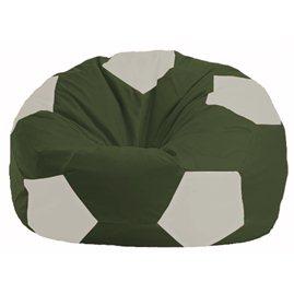Кресло-мешок Мяч тёмно-оливковый - белый М 1.1-59