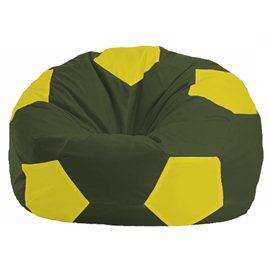 Кресло-мешок Мяч тёмно-оливковый - жёлтый М 1.1-57