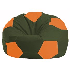 Кресло-мешок Мяч тёмно-оливковый - оранжевый М 1.1-56