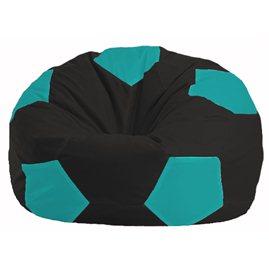 Кресло-мешок Мяч чёрный - бирюзовый М 1.1-393