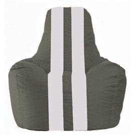 Кресло-мешок Спортинг тёмно-серый - белый С1.1-357