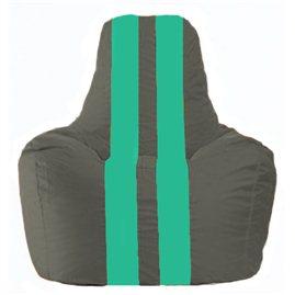 Кресло-мешок Спортинг тёмно-серый - бирюзовый С1.1-465