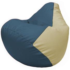 Кресло-мешок Груша Г2.3-0310 синий, светло-бежевый