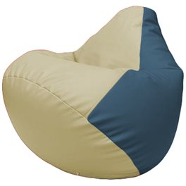 Кресло-мешок Груша Г2.3-1003 светло-бежевый, синий