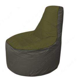 Живое кресло-мешокТрон Т1.1-1122(тем.оливковый-серый)