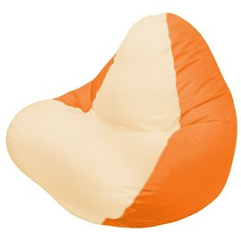 Кресло-мешок RELAXоранжевое, сидушка светло - бежевая