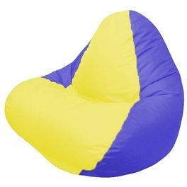 Кресло-мешок RELAX тёмно-синее, сидушка жёлтая