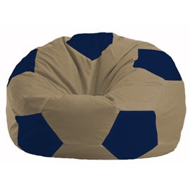Кресло-мешок Мяч бежевый - тёмно-синий М 1.1-80