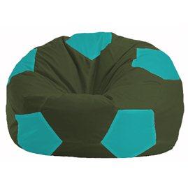 Кресло-мешок Мяч тёмно-оливковый - бирюзовый М 1.1-58
