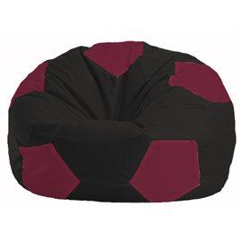 Кресло-мешок Мяч чёрный - бордовый М 1.1-358