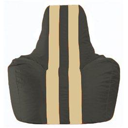 Кресло-мешок Спортинг чёрный - светло-бежевый С1.1-471
