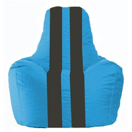 Кресло-мешок Спортинг голубой - чёрный С1.1-267