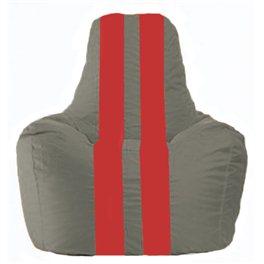 Кресло-мешок Спортинг серый - красный С1.1-332