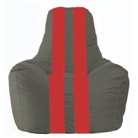 Кресло-мешок Спортинг тёмно-серый - красный С1.1-362