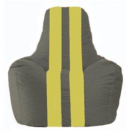 Кресло-мешок Спортинг тёмно-серый - жёлтый С1.1-360