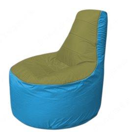 Живое кресло-мешокТрон Т1.1-1013(оливковый-голубой)