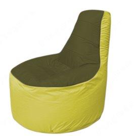 Живое кресло-мешокТрон Т1.1-1106(тем.оливковый-желтый)