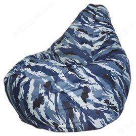 Бескаркасное кресло-мешок Груша Синий камуфляж