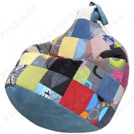 Кресло-мешок Груша Пэчворк (голубой)